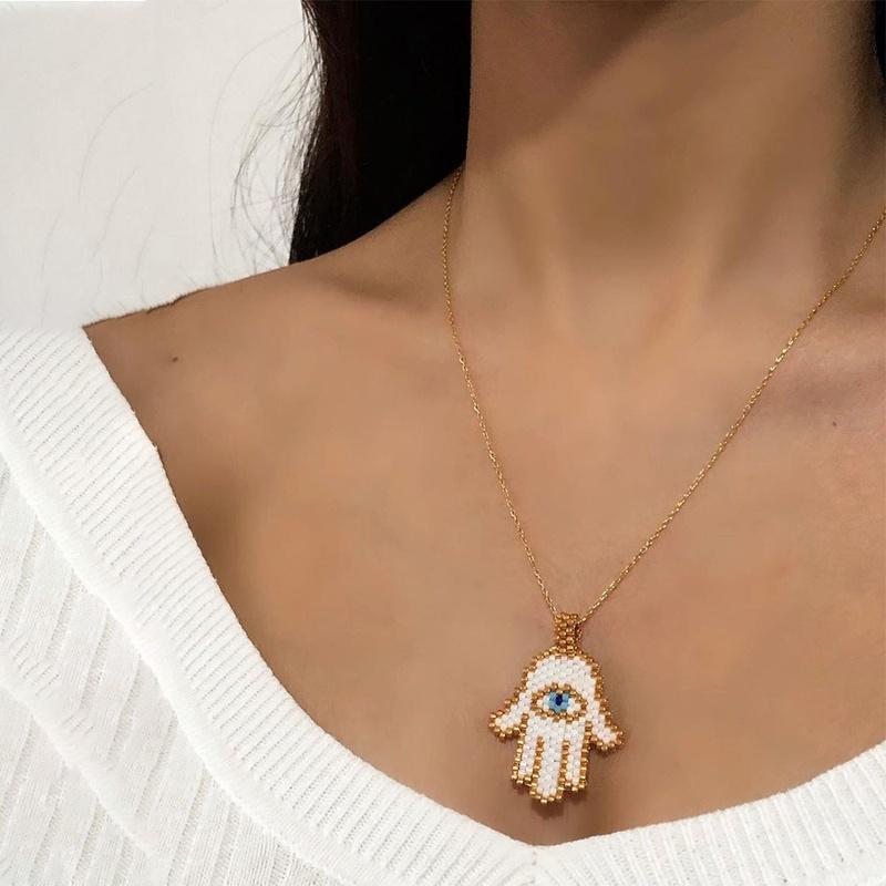 fashion palm eyes woven necklace  NHGW306972