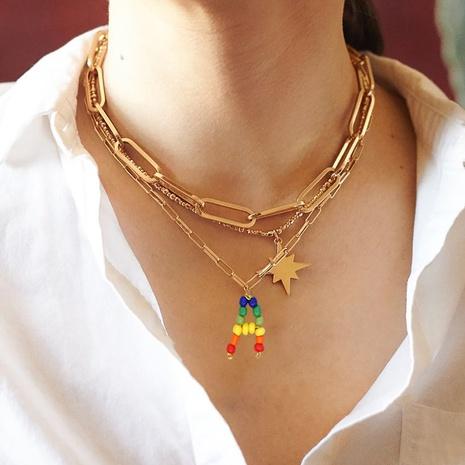 Edelstahl Regenbogen Perlen 26 englische Buchstaben Halskette NHGW306987's discount tags
