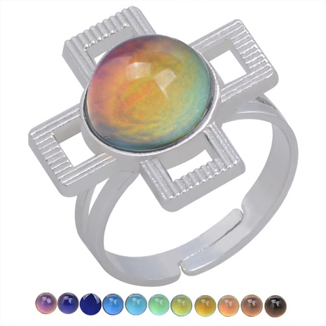 fashion hollow cross gemstone color change open ring NHBI306995's discount tags