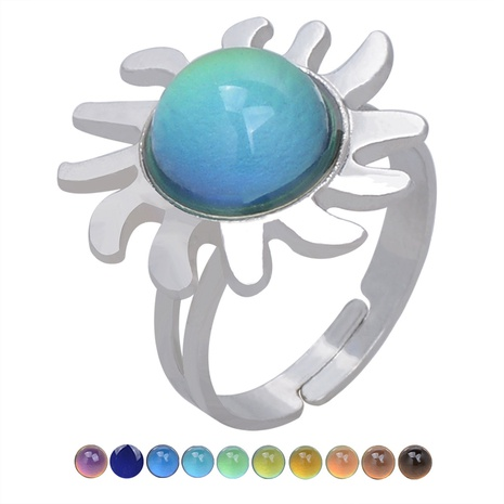 retro fashion sun ray gemstone temperature-sensing opening ring NHBI306996's discount tags