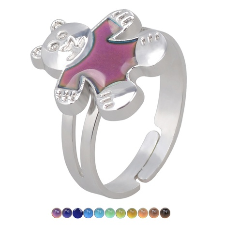 fashion cute cartoon bear color change opening ring NHBI306997's discount tags