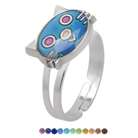 fashion cute cartoon kitten color changing opening ring NHBI307005's discount tags