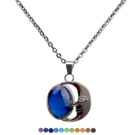moon gemstone temperature and mood color changing necklace NHBI307011's discount tags