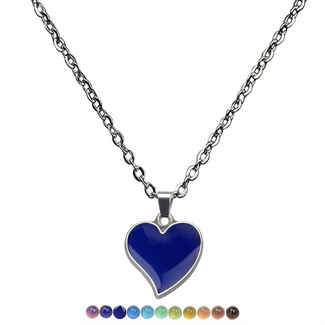 mood color changing peach heart stainless steel necklace NHBI307013's discount tags