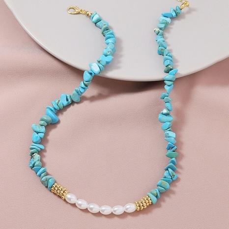 Mode Türkis Perlenkette NHGU307024's discount tags