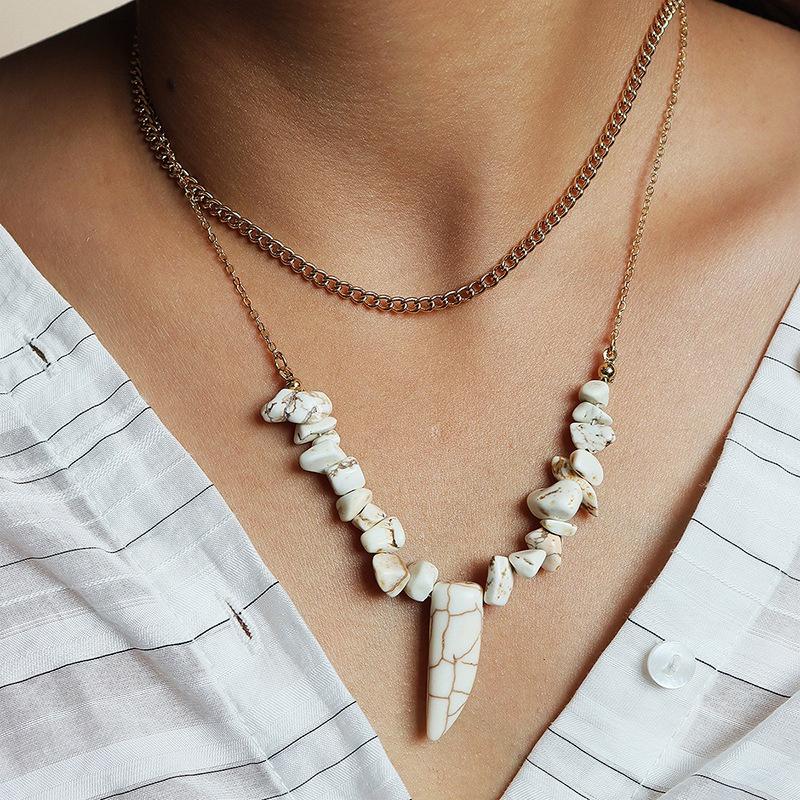 new fashion stone double layer necklace NHGU307033