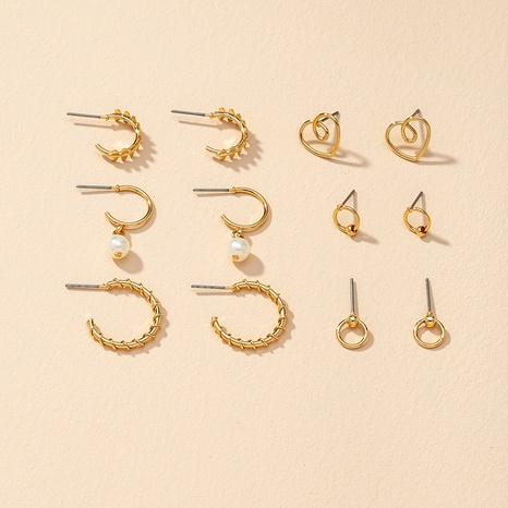 fashion pearl retro earrings 6 pairs  NHGU307039's discount tags