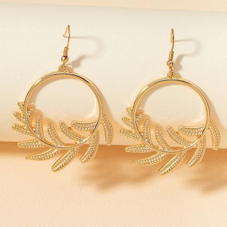 metal leaf retro earrings NHGU307076's discount tags