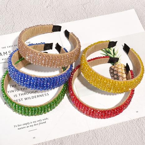 Korean retro crystal woven headband NHAQ307099's discount tags