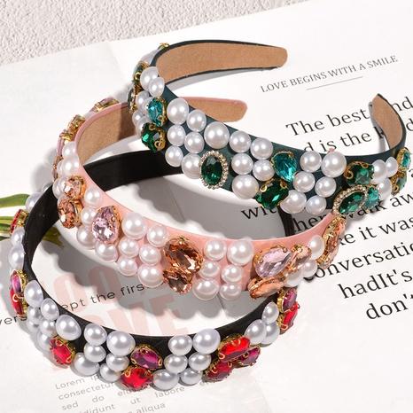 Pearl diamond retro baroque hairband NHAQ307104's discount tags