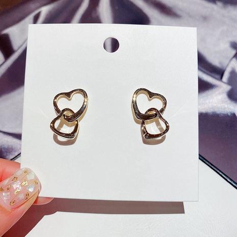 fashion glossy metal double heart-shaped earrings  NHCG307107's discount tags