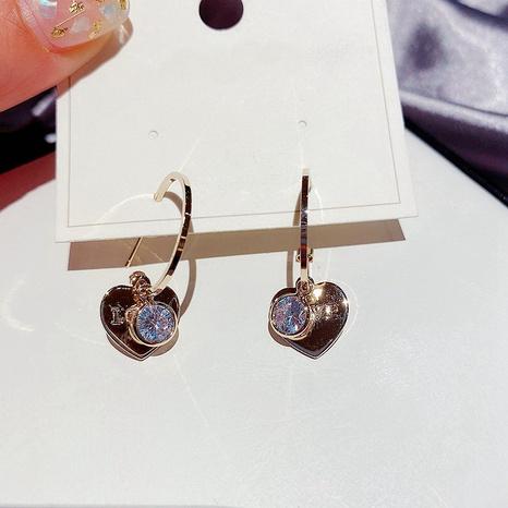fashion simple heart-shaped zircon earrings  NHCG307117's discount tags