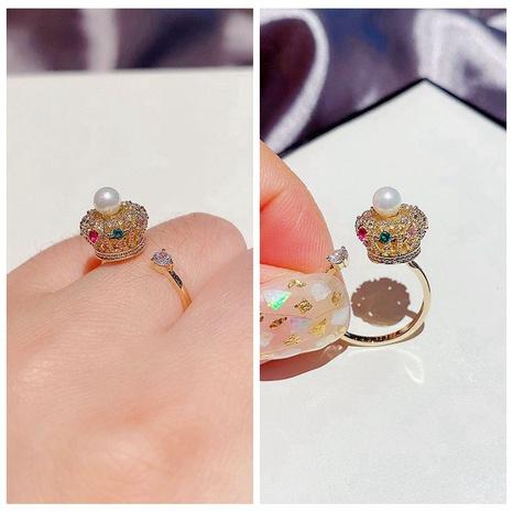 Korean fashion diamond zircon pearl crown open ring NHCG307118's discount tags