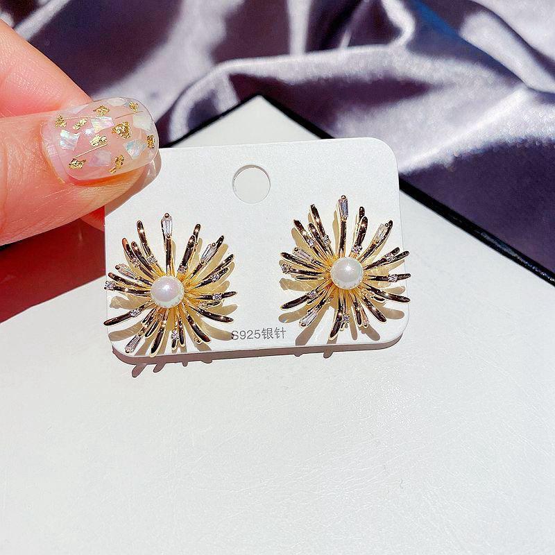 925 silver needle inlaid pearl zircon firework earrings  NHCG307119