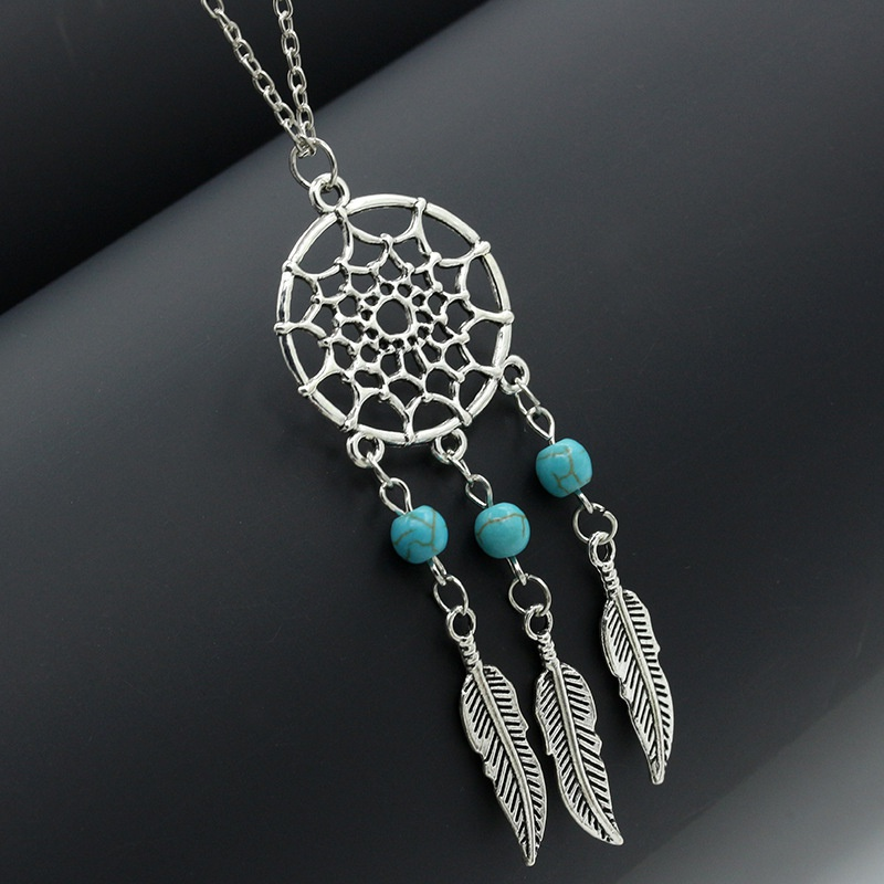boho turquoise tassel feather necklace  NHDP307153