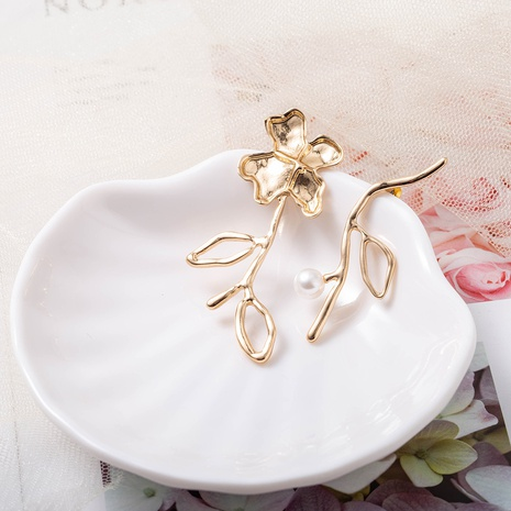 asymmetrical silver needle flower earrings NHQS307169's discount tags