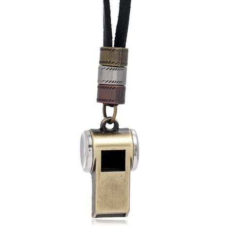 retro alloy whistle pendant black leather necklace NHPK307207's discount tags