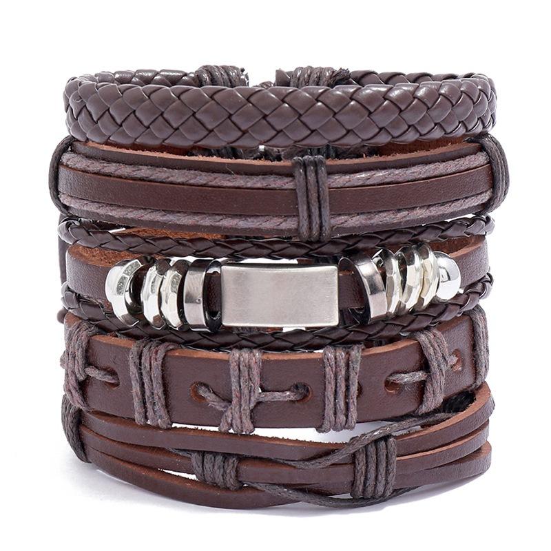 retro woven leather bracelet set  NHPK307211