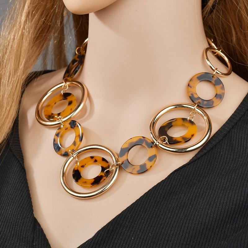 retro acetate plate leopard print necklace NHBQ307245