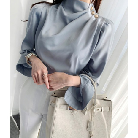 new fashion pleated puff sleeve solid color shirt NHJG307281's discount tags