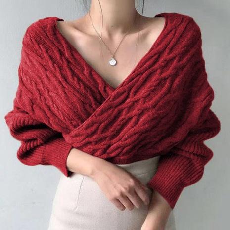 nouveau pull en tricot torsadé à base sexy à col en V croisé NHJG307278's discount tags