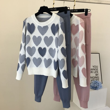 new fashion beaded sweet love printed sweater two-piece suit NHJG307272's discount tags