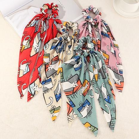 Scrunchies de seda impresos moda del pelo de la tela del streamer de Corea NHAU307346's discount tags