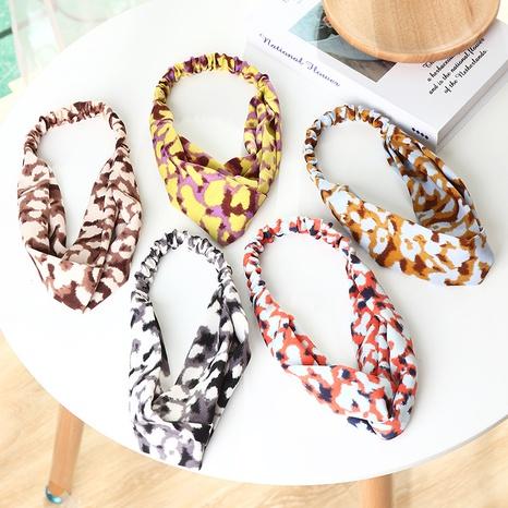 nueva diadema elástica cruzada retro con estampado de leopardo coreano NHAU307347's discount tags