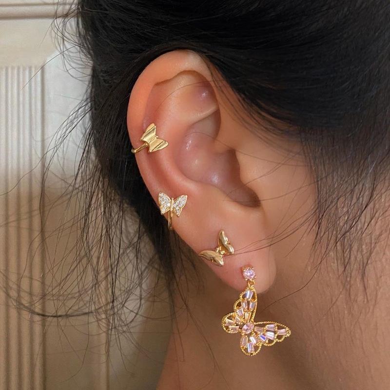 simple diamond-studded butterfly earrings set NHPF307356