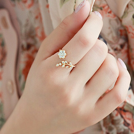 fashion diamond leaves flowers opening ring NHPF307357's discount tags
