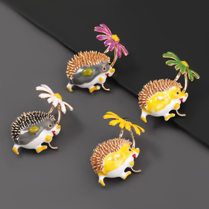 alloy daisy hedgehog brooch  NHJE307362