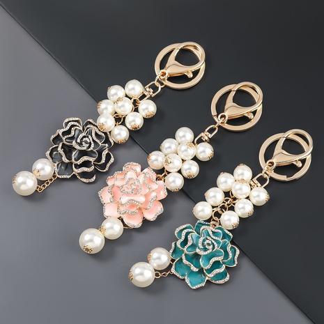 porte-clés de fleur de perle de diamant d'alliage NHJE307375's discount tags