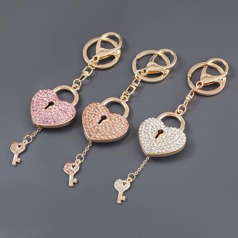 porte-clés de dessin animé de serrure de clé de coeur de diamant d'alliage NHJE307381's discount tags
