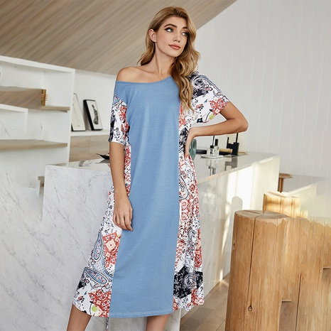 new simple casual belt mid-length printed dress  NHDF307391's discount tags