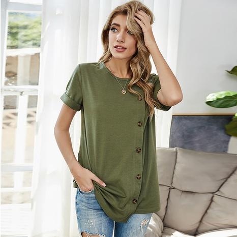 nouveau t-shirt uni à boutonnage uni NHDF307392's discount tags