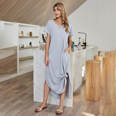 simple v-neck irregular solid color dress  NHDF307393's discount tags