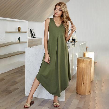 nouvelle robe simple de couleur unie irrégulière taille haute NHDF307395's discount tags