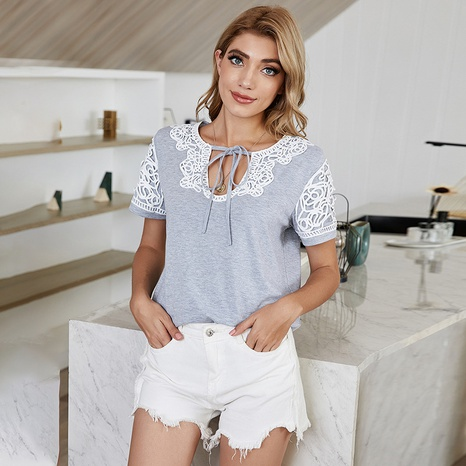 new simple lace stitching straps bowknot t-shirt  NHDF307396's discount tags