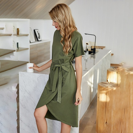 new solid color bandage round neck mid-length dress NHDF307397's discount tags
