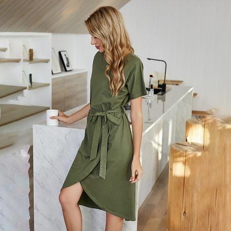 nouvelle robe mi-longue col rond bandage de couleur unie NHDF307397's discount tags