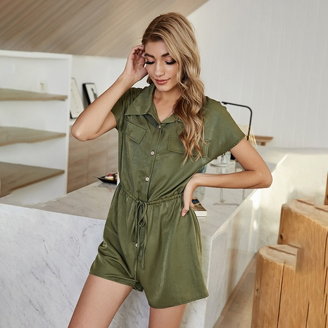 new simple lapel single-breasted bandage casual jumpsuit  NHDF307398's discount tags