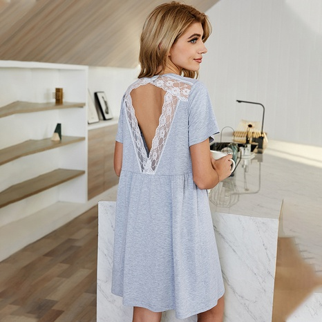 new solid color lace V-neck casual long dress  NHDF307399's discount tags