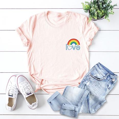cute pocket rainbow cotton t-shirt NHSN307401's discount tags
