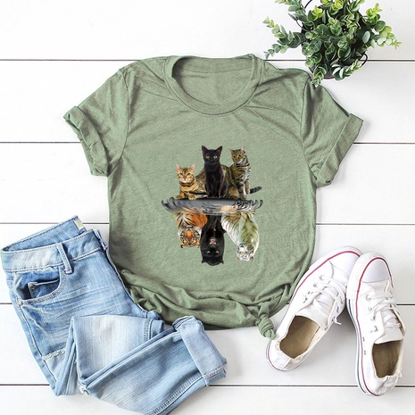 Valentine's Day cat simple t-shirt  NHSN307405's discount tags