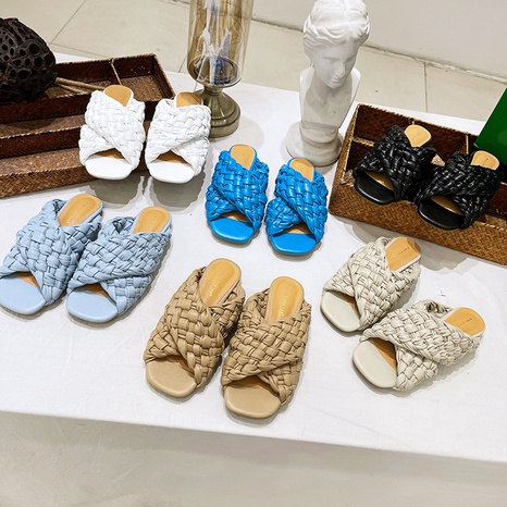 open-toe flat woven slippers  NHSO307428's discount tags
