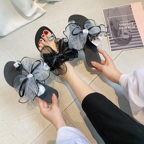New Fashion Wild Polka Dot Bowknot Flip Sandals NHPE307646's discount tags