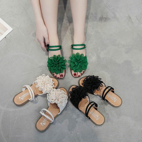Korean new flip flops frosted bow suede slippers NHPE307648's discount tags