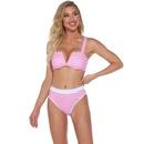 nuevo bikini sexy con cuello en V a rayas de cintura alta dividida NHHL307717
