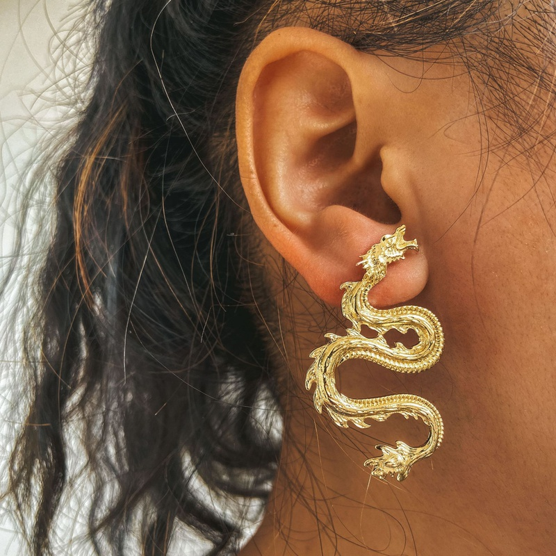 new simple exaggerated dragon earrings NHPJ307750
