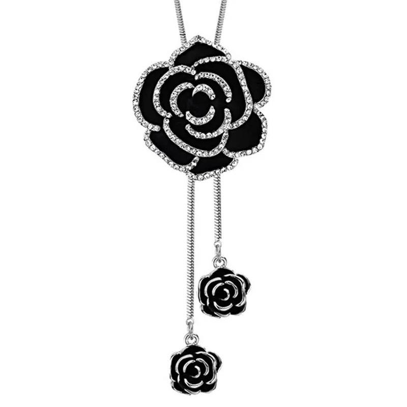 fashion black flower diamond necklace NHVA307757